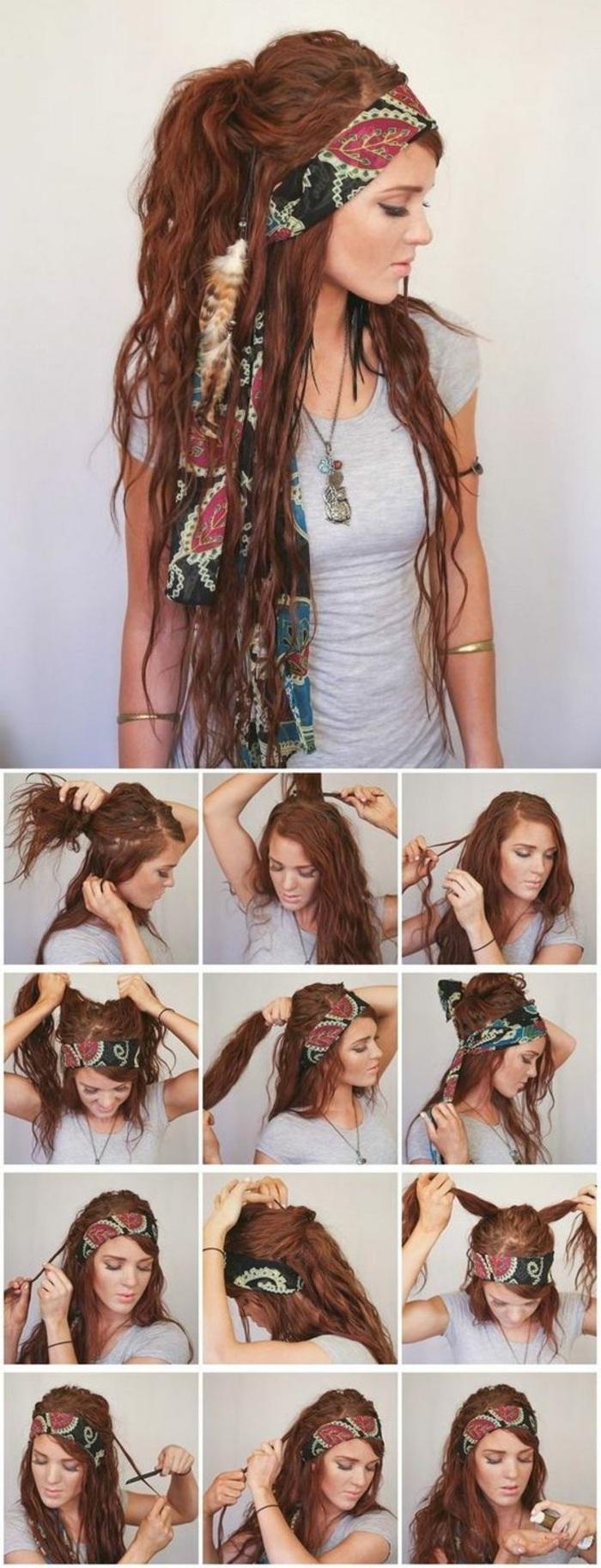 lange, rote haare, graue bluse, halskette, grunge-frisur
