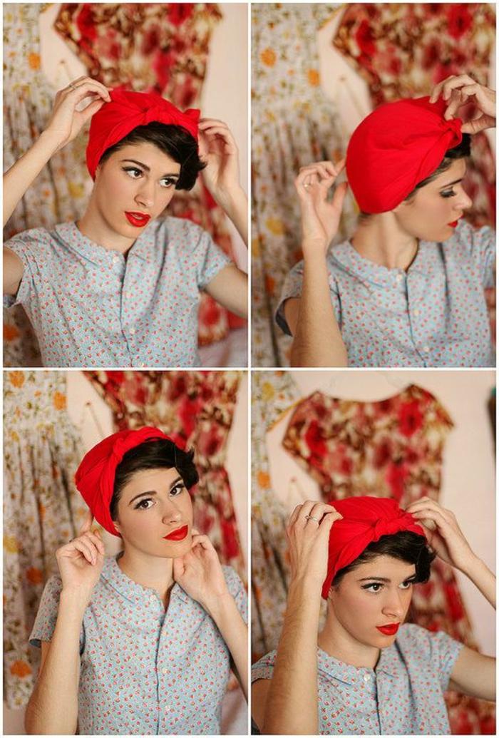 dame mit schwarzen haaren, hemd mit blumen und rotem lippenstift