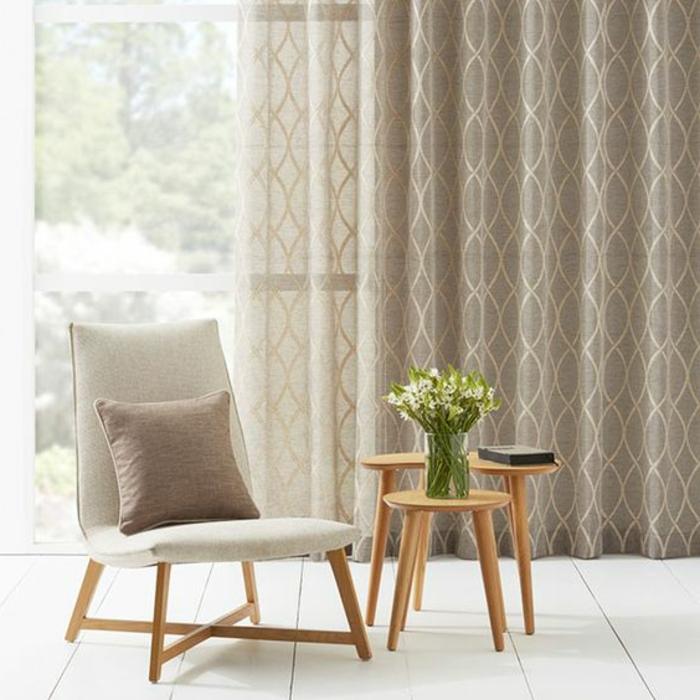 beige, transparente gardinen mit tollem muster
