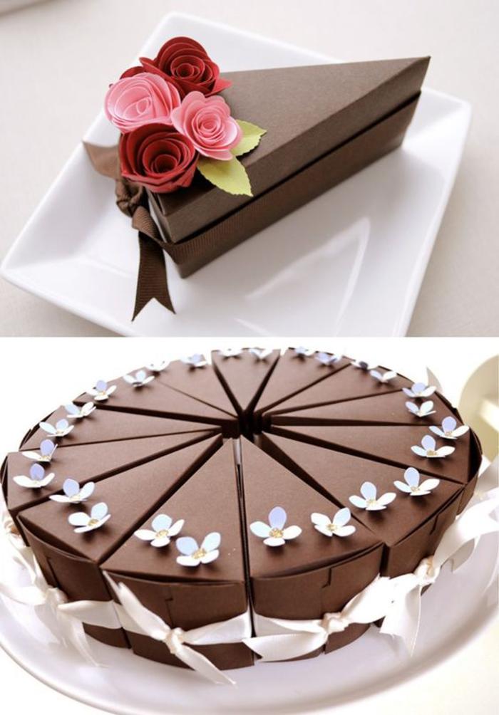 gastgeschenke, verpackung, torte, schokolade, blumen, faltenschachtel, stueck, rosen