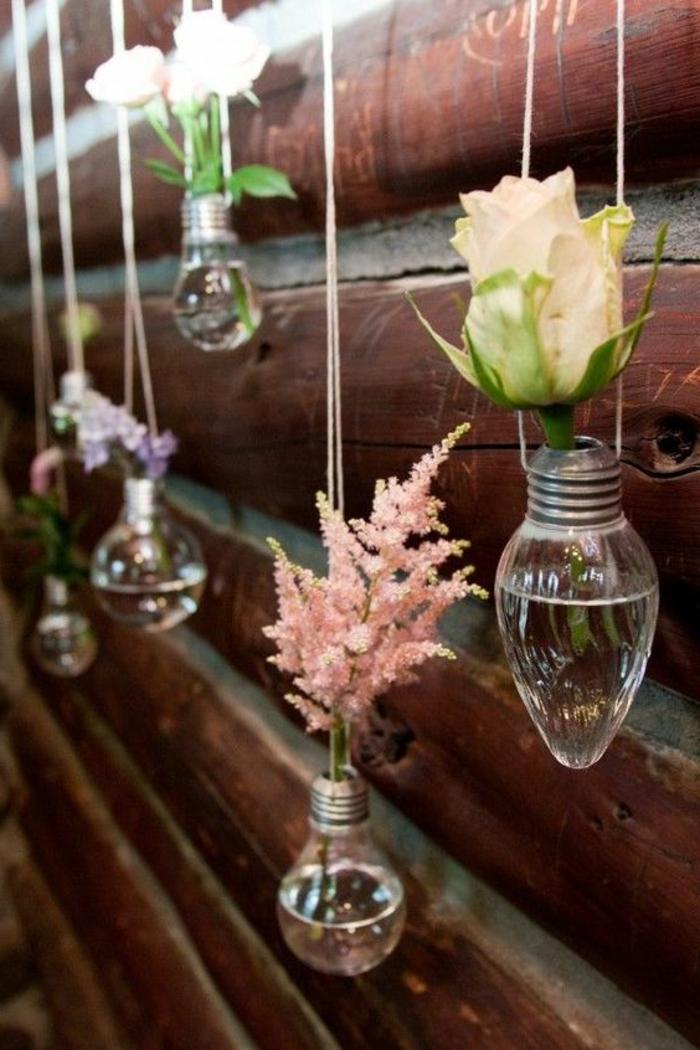 diy wanddeko aus birnen, blumen, frühlingdeko, vasen