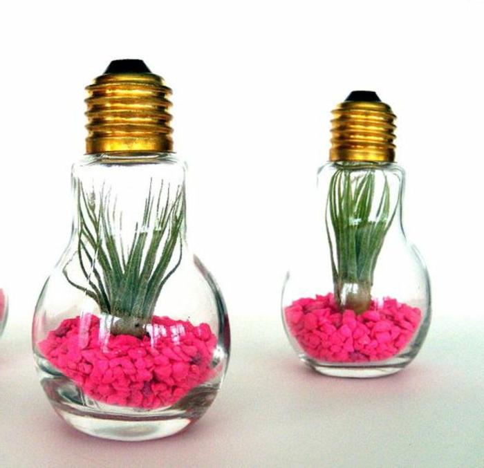 mini florarrien aus birnen mit kleinen pflanzen und rosa steinchen