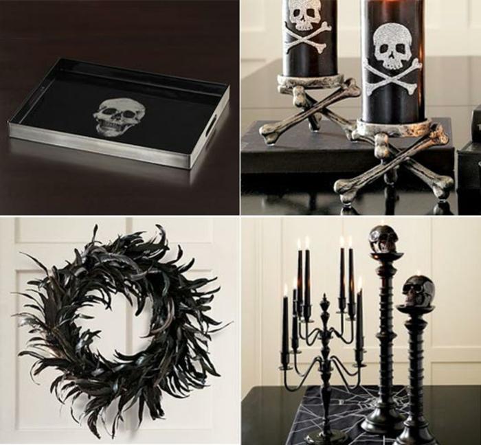 Servierbrett mit einem Totenkopf, schwarze Kerzen mit Totenköpfen, schwarzer Metallkranz, Metallleuchter