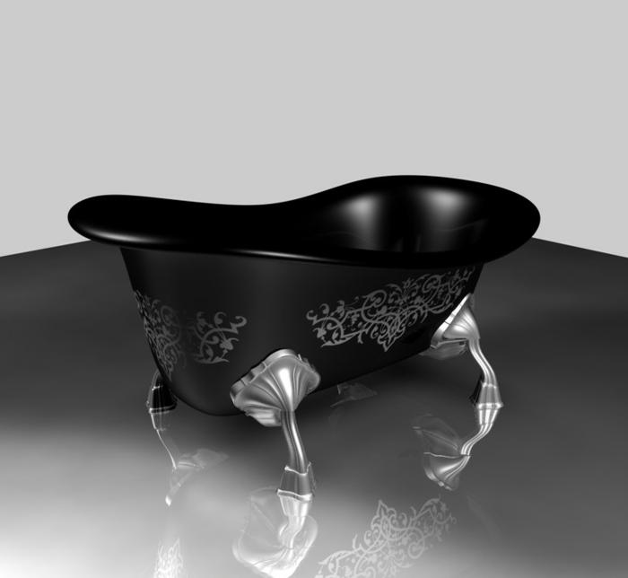 schwarze Badewanne im gotischen Stil mit gotischen Ornamenten und Beinen aus Metall
