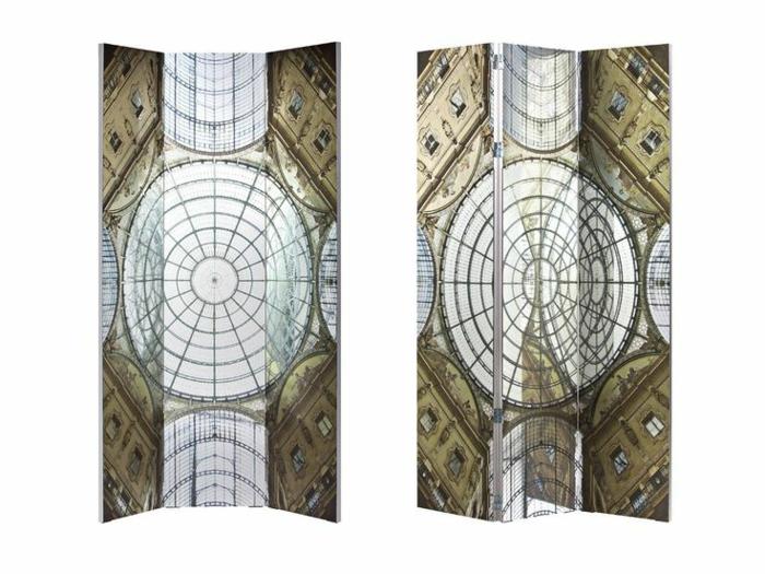 optische Raumtrennung mit Gothic-Raumteiler aus Glas mit Print, Dom-Motive