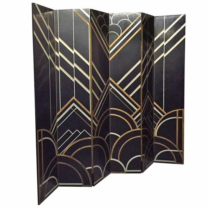 Raumtrenner im gotischen Stil, sechsflügelig, Farben Schwarz, Goldfarbe und Weiß