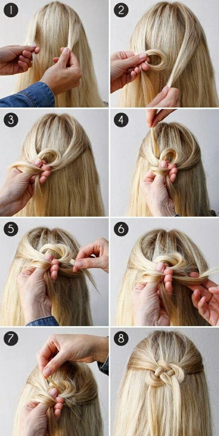 blonde, lange, glatte haare flechten, schöne frisur