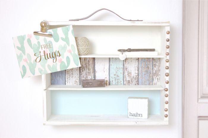 upcycling möbel, schöne deko, holzkisten mit vintage style, ideen zum inspirieren