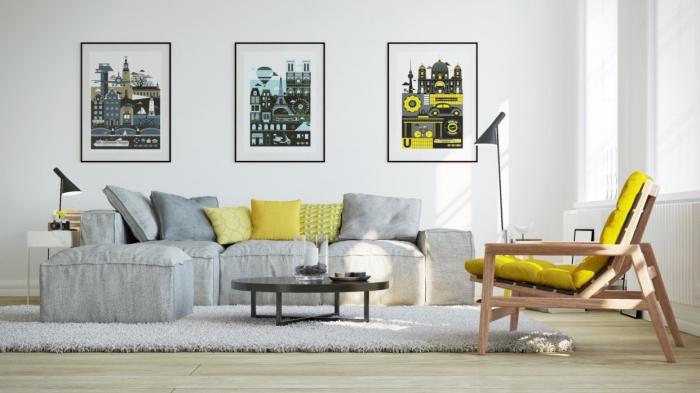 wohnaccessoires ideen in grau und gelb, sessel, drei bilder auf der wand, wanddeko