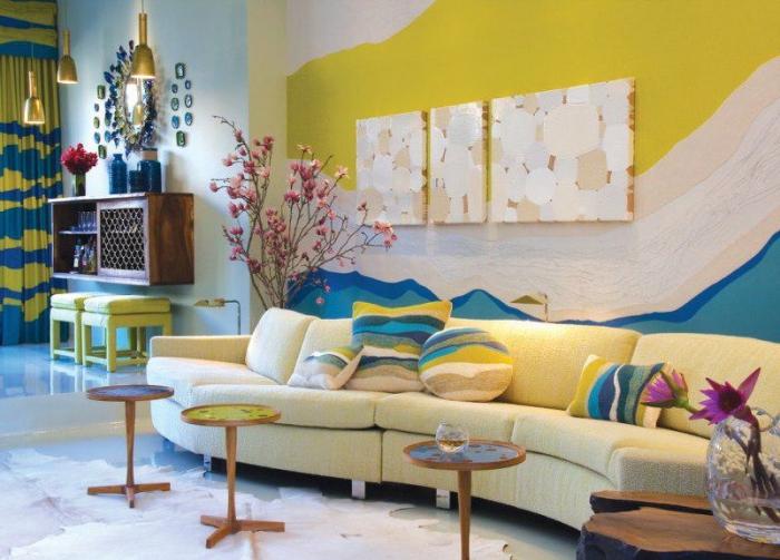 wohnaccessoires, meeresambiente in dem wohnzimmer schaffen, blau gelb und weiß deko zu hause