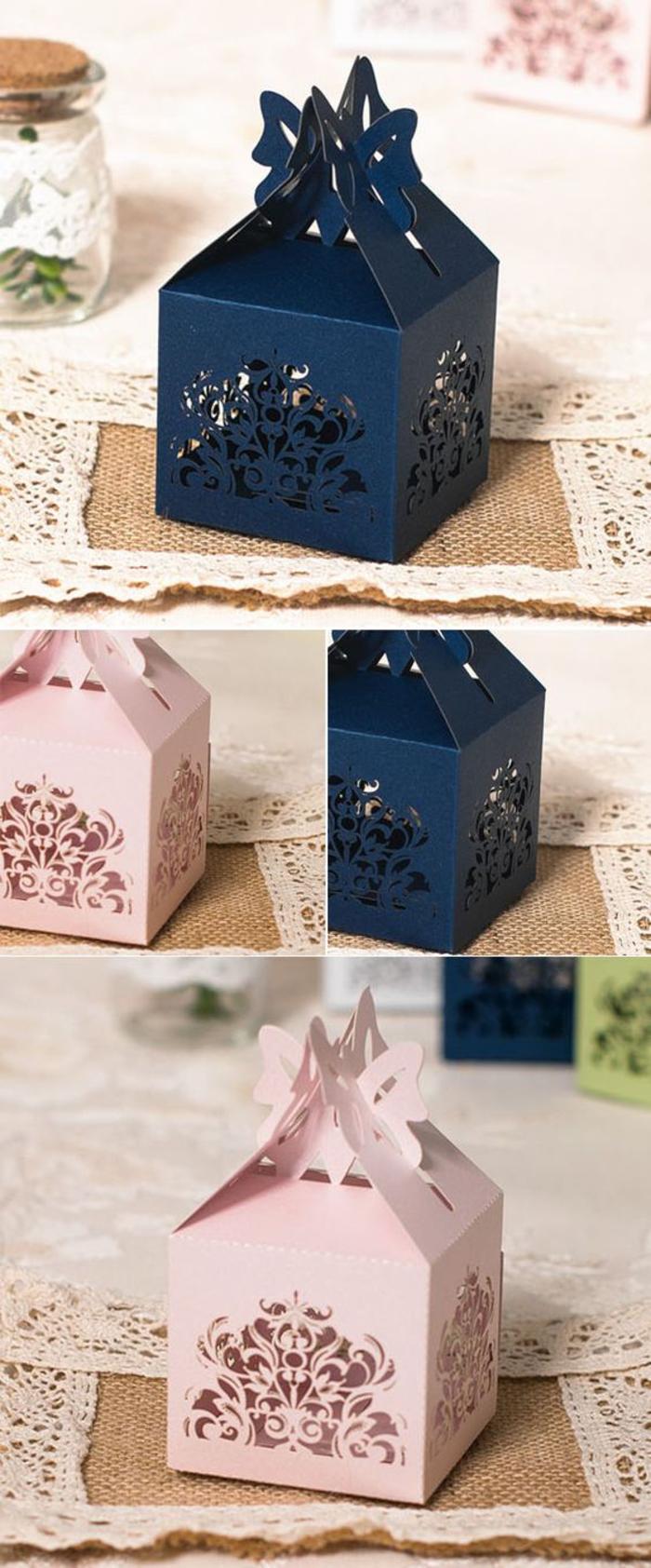 faltenschachteln in blau und rosa, geschenke fuer gaeste, bonbons, hochzeit