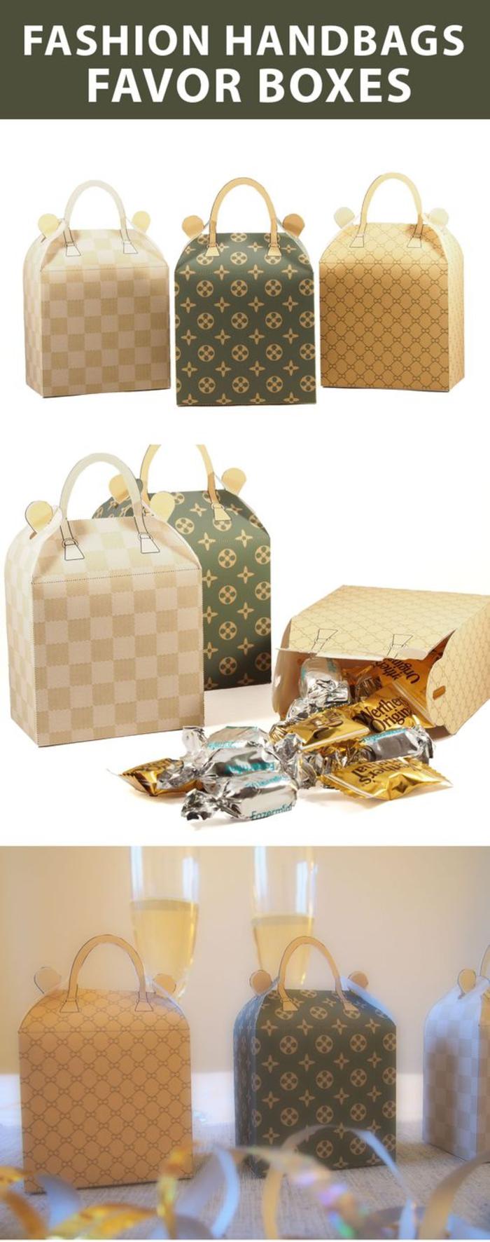 geschenke fuer die gaeste, hochzeit, verpackung, koffer, schachtel mit bonbons