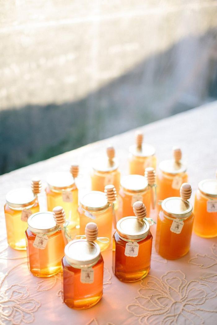 glas mit honig, geschenk fuer gaeste, hochzeit, zettel