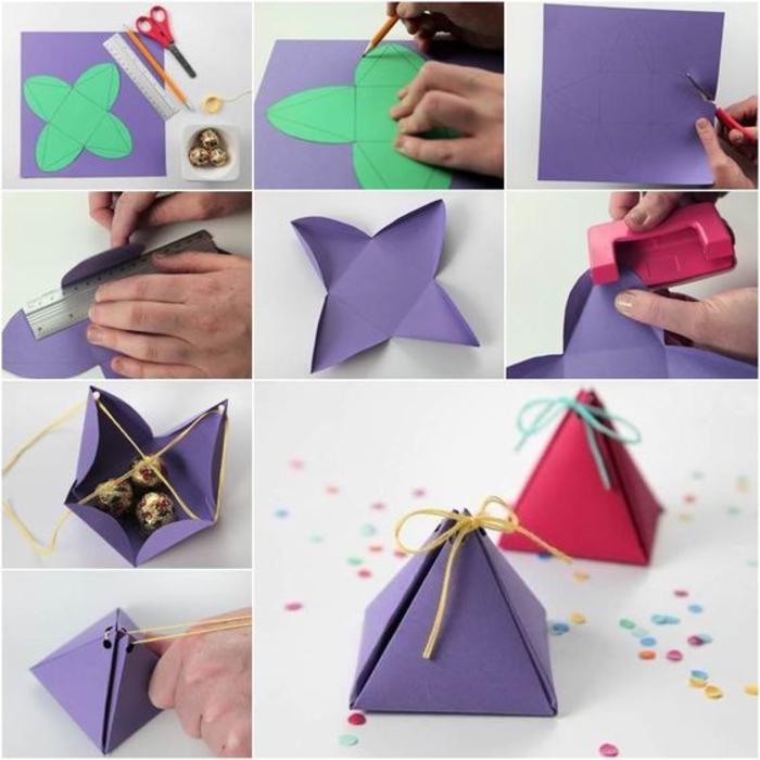 hochzeitsgeschenke fuer gaeste, pyramide, faltenschachtel, banobons, baendchen, verpackung, lila und rot
