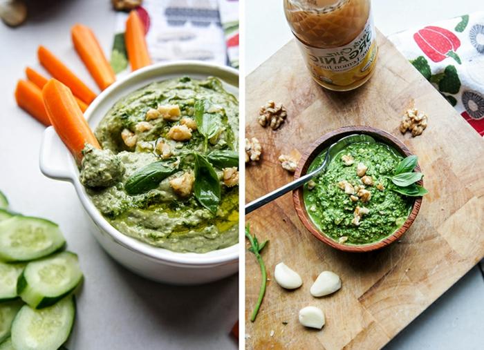 hummus selber machen cremiges essen zubereiten ideen gurke möhren mit hummus essen