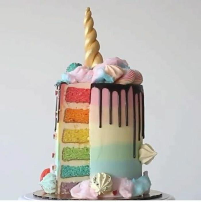 idee für eine regenbogenfarbene einhorn torte mit einem gelben horn