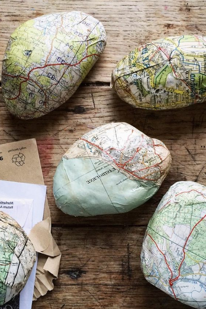 idee für serviettentechnik mit steinen und karten