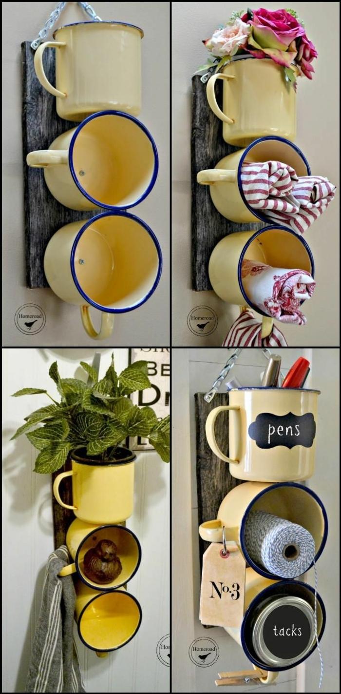Emaillen-Tassen neu verwenden als Organizer, für Pfelegeprodukte oder Stifte, Upcycling Ideen einfach, Kreative Ideen