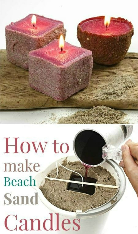 rosa kerzen mit strandsand selber machen