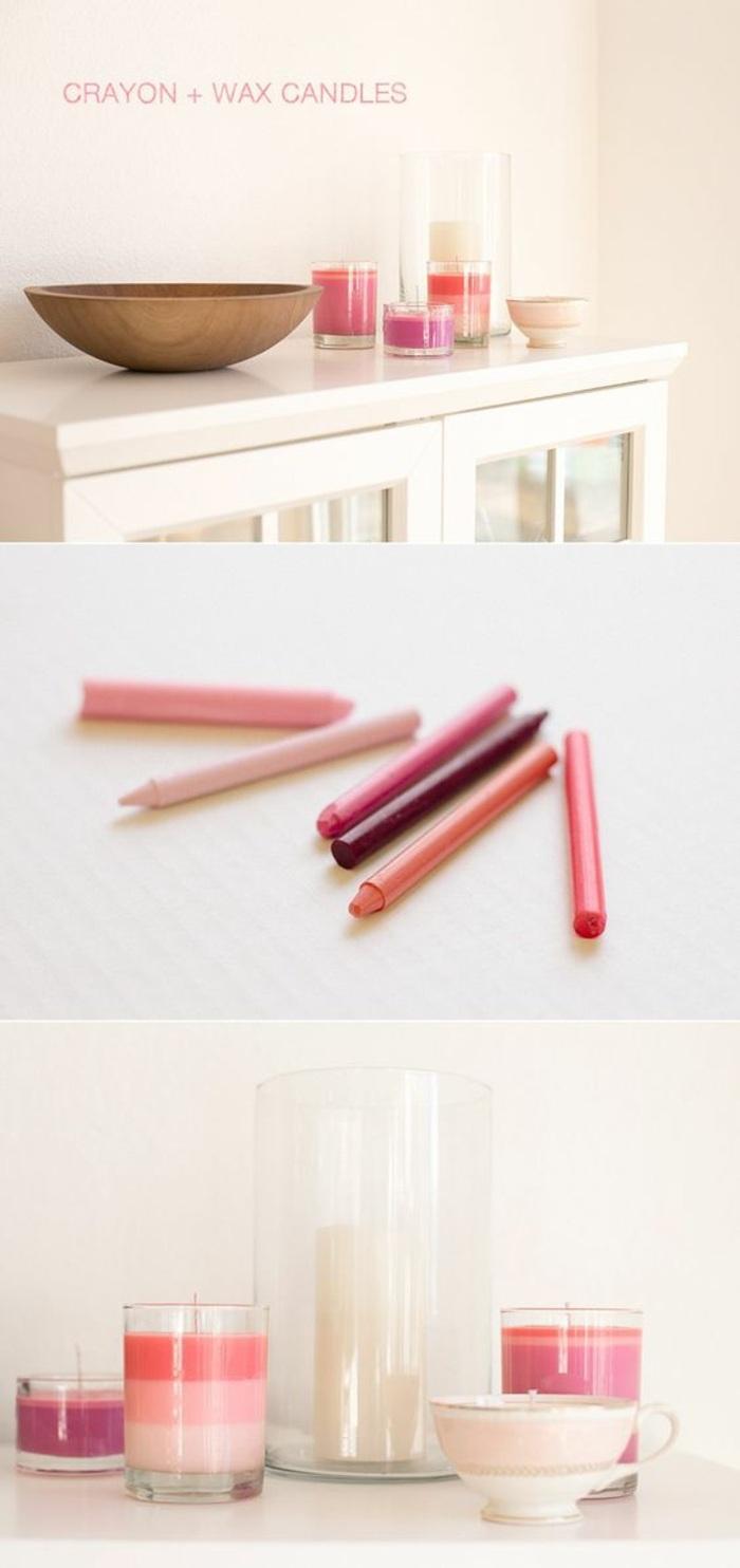 diy rosa kerzen aus kerzenreste und pastellkreiden
