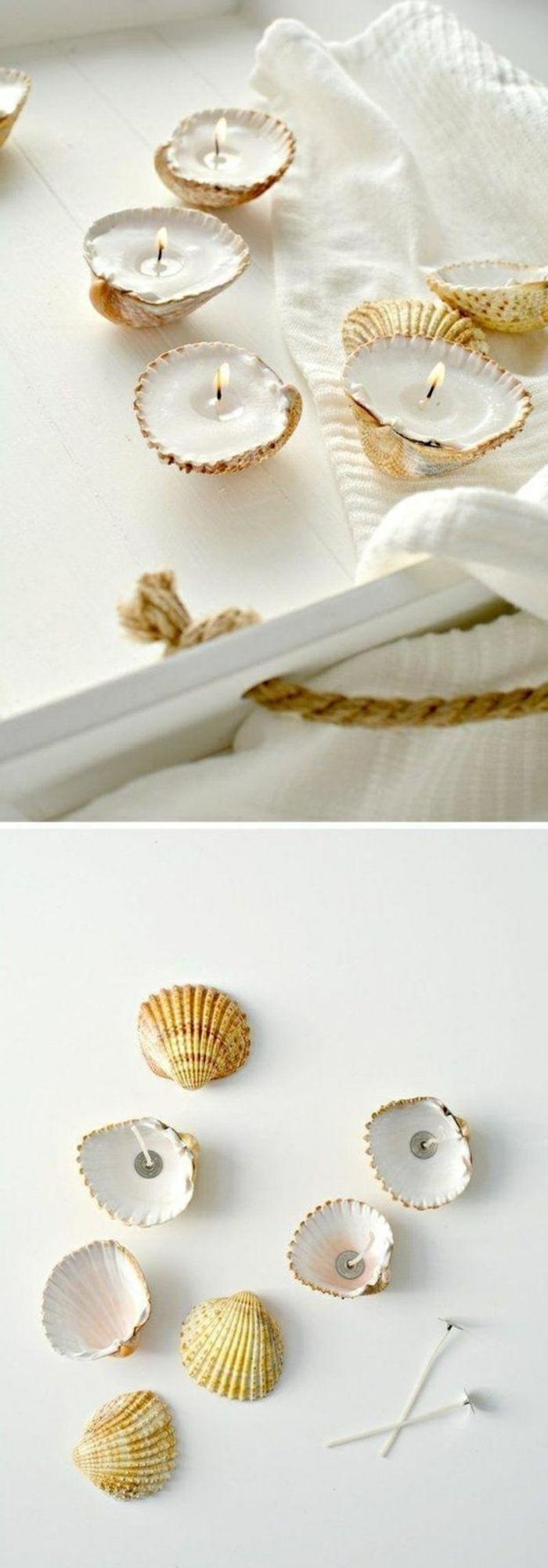 kerzenlater aus muschel, kleine weiße diy kerzen