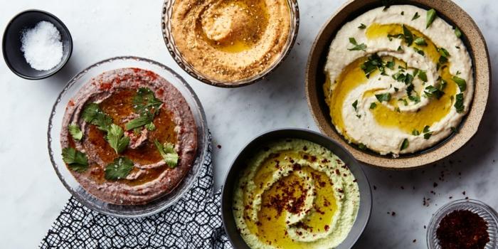 kichererbsen gesunde ideen zum gestalten rote creme paste zum essen paprika hummus