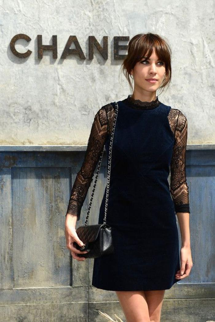 das kleine schwarze, spitzenaermel, ledertasche, kurz,elegant