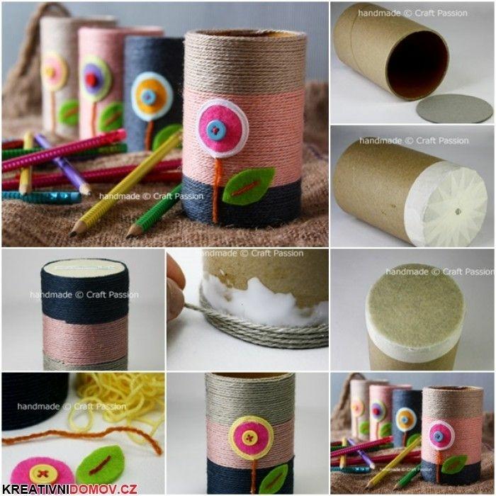 Dekorationsidee für Toilettenpapierrollen, Upcycling zu Bleistifthalter, Upcycling Projekte mit Kindern, DIY Anleitung