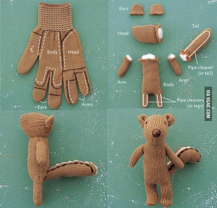 Anleitung zum Selbermachen vom Plüschtier aus einem Handschuh, Upcycling Kleidung, DIY Projekt