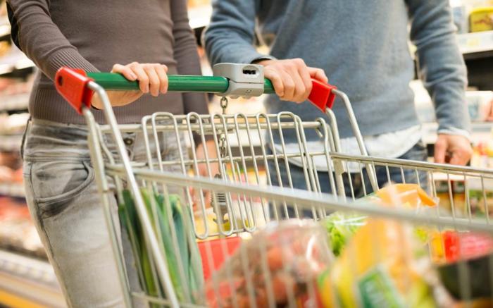 lebensmittelzertifikate, einkaufwagen, einkaufen, produkte, supermarkt