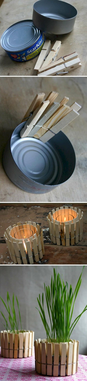 Teelichthalter oder Blumentopf aus alte Thunfischdosen, mit Wäscheklammer Dekoratio, Upcycling Ideen einfach