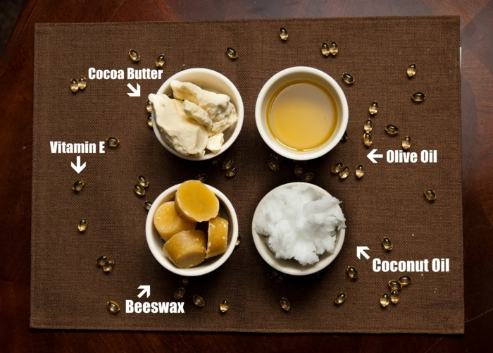 kokosöl kosmetik selber machen, olivenöl, kokosöl, vitamin e, binenwachs