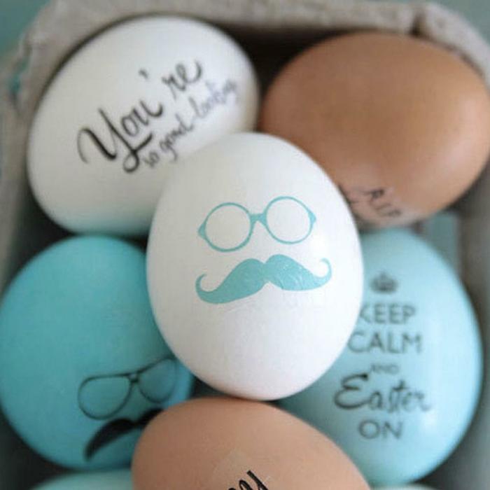 Lustige Eiergesichter von einem Kerl mit Brillen und Schnurrbart in weißer Farbe