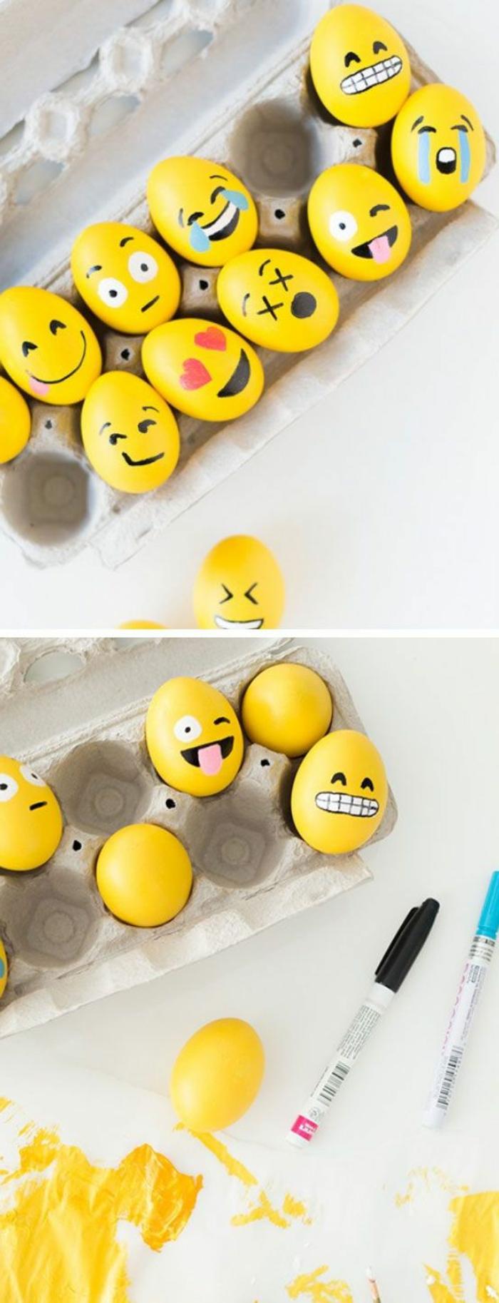 Ideen für gelbe Ostereier mit Emojis bemalen - verschiedene Mienen