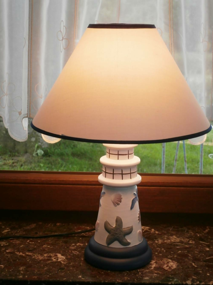 Fensterbank Lampe mit maritimen Motiven