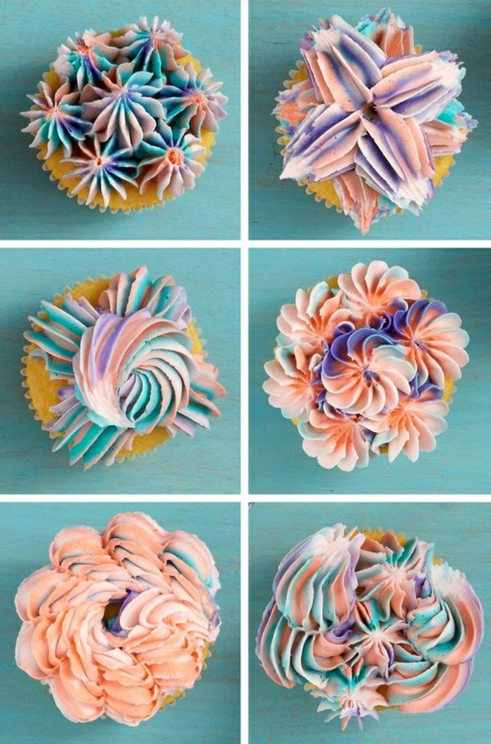 muffins dekoriert mit sahne in verschiedenen farben