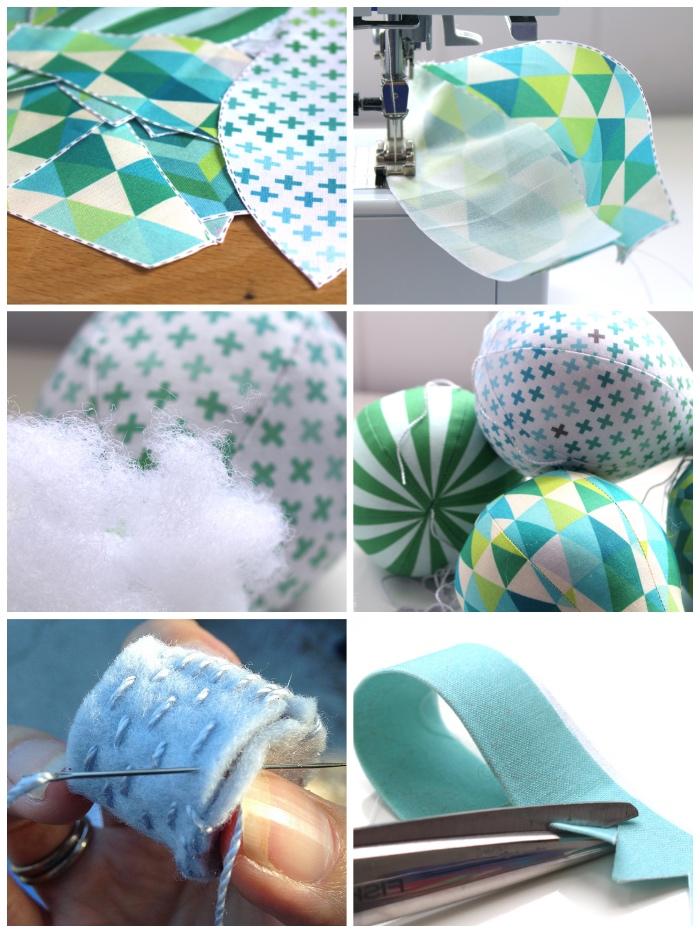 heoßluftballons aus stoff nähen, mobile baby basteln, diy deko für das babyzimmer, baumwolle
