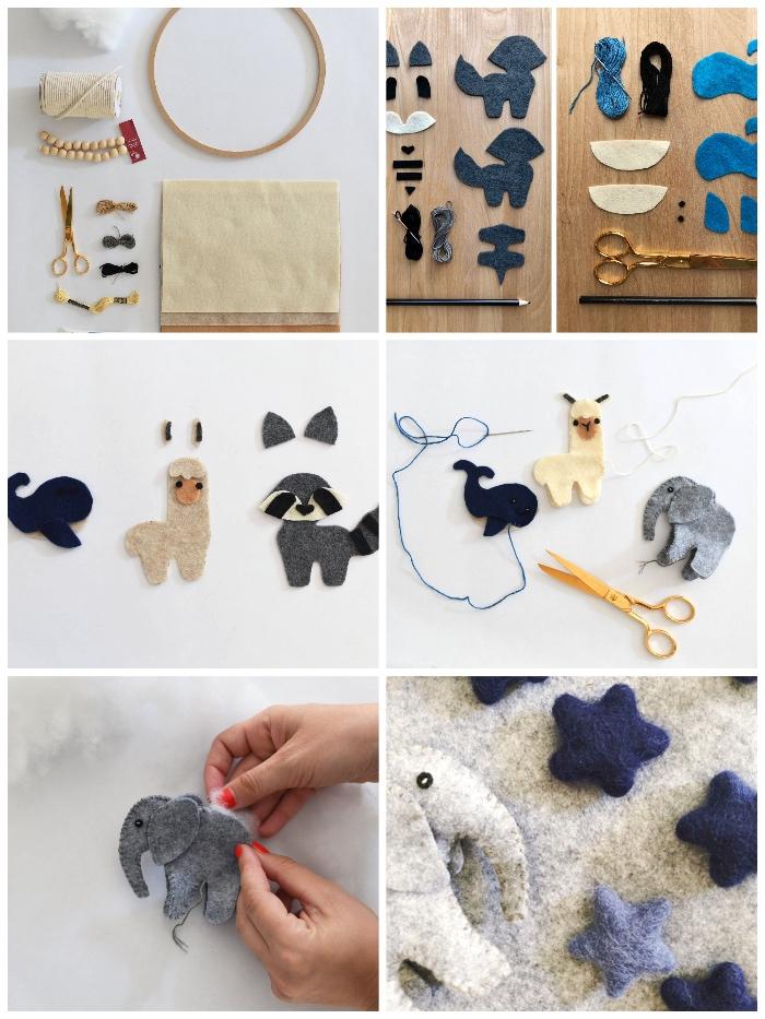 kleine figuren aus filzstoff nähen, mobile baby basteln, schritt für schritt anleitung, tiere