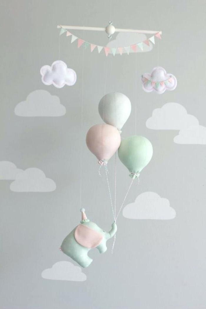 babyzimmerdeko selber machen, mobile nähen, elefant mit heißluftballons und wolken, diy deko