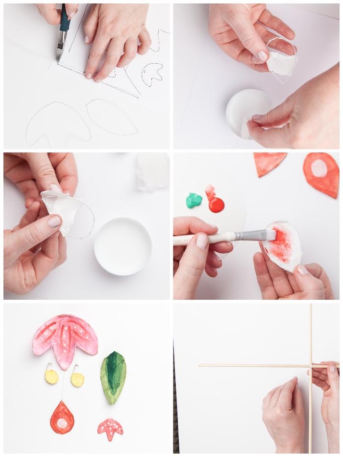 mobile selber basteln anleitung, schritt für schritt tutorial, papierblumen machen, diy bastelideen