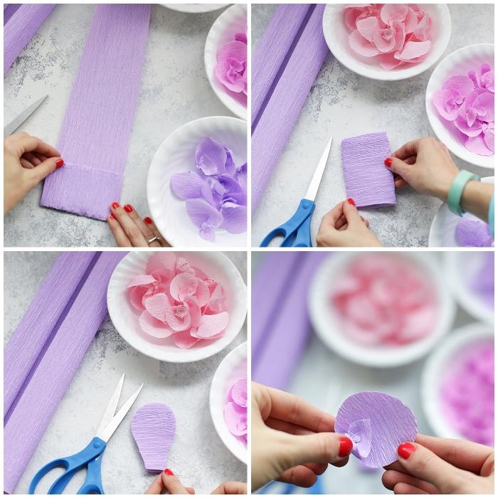 mobile selber basteln, frühöingsdeko anleitung, blumen aus lila udn rose papier selber machen