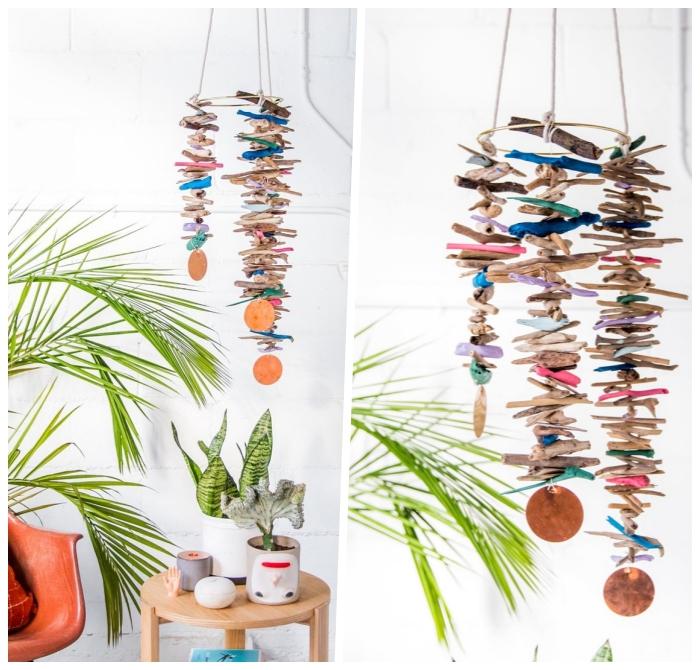 mobile selber machen, hängende dekroation aus treibholz, bastelideen für zuhause, sommerdeko
