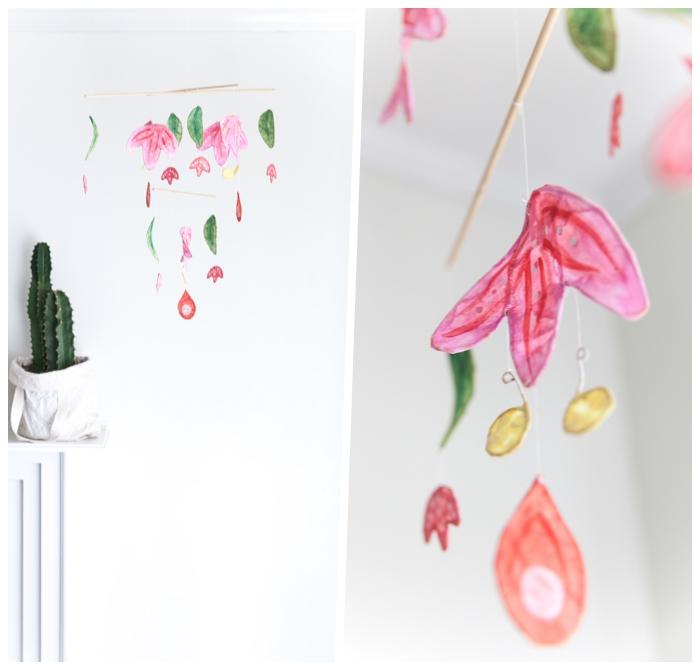 mobile selber basteln, selbstgemachte frühlingsdeko, blumen aus papier, einfache diy deko
