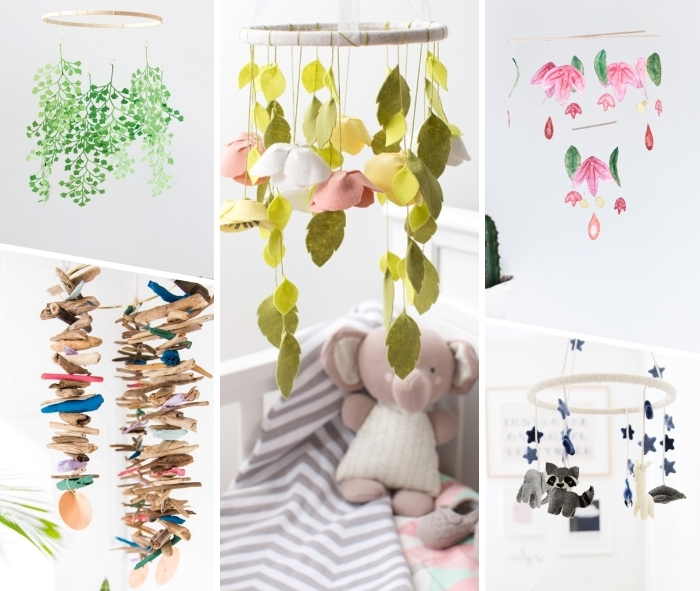 mobile selber machen, diy deko für zuhause, babyzimmerdeko ideen, dekoration aus treibholz, blumen aus folzstoff