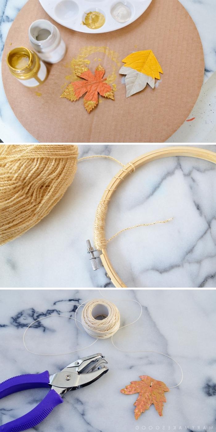 mobile selbst basteln anleitung, hebstdeko selber machen, herbstblätter mit goldener und silberner farbe dekorieren