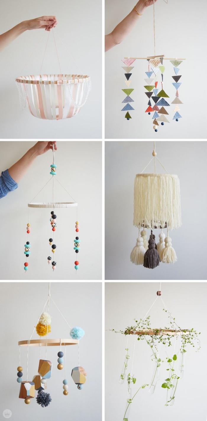 mobile selbst basteln, verschiedene designs und ideen, reiecke aus papier, diy bastelideen für zuhause