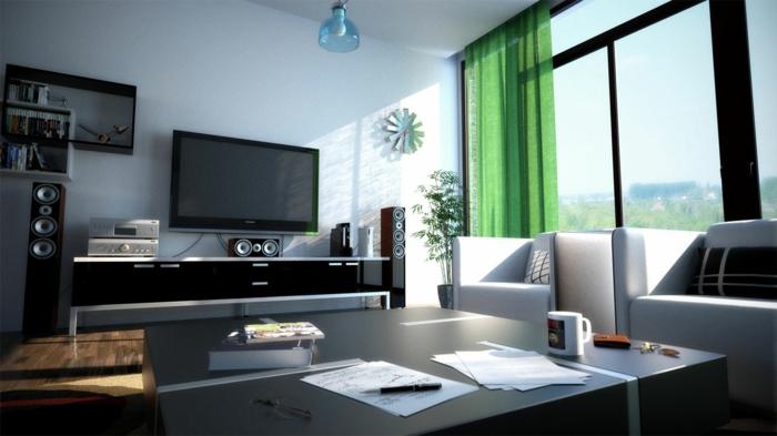 grüne, transparente gardinen als farbakzent im wohnzimmer