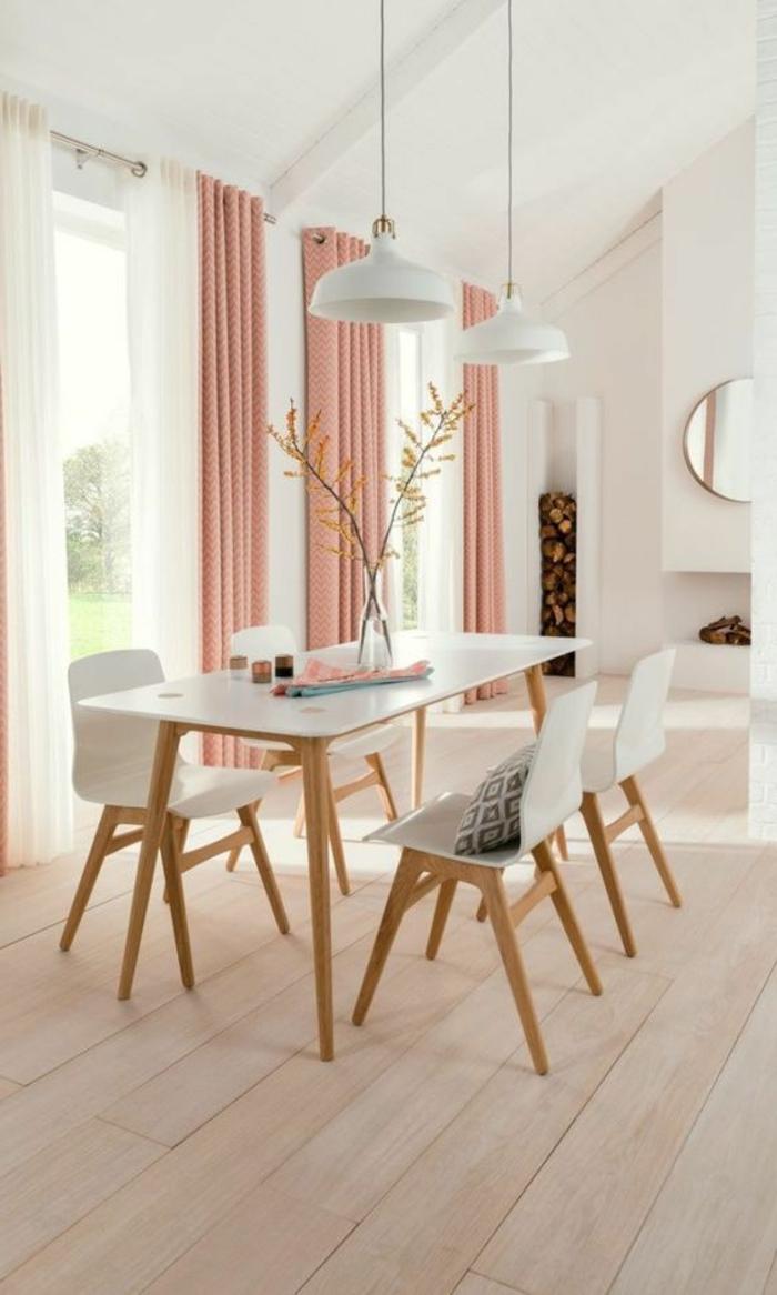moderne vorhänge in rosa in der küche