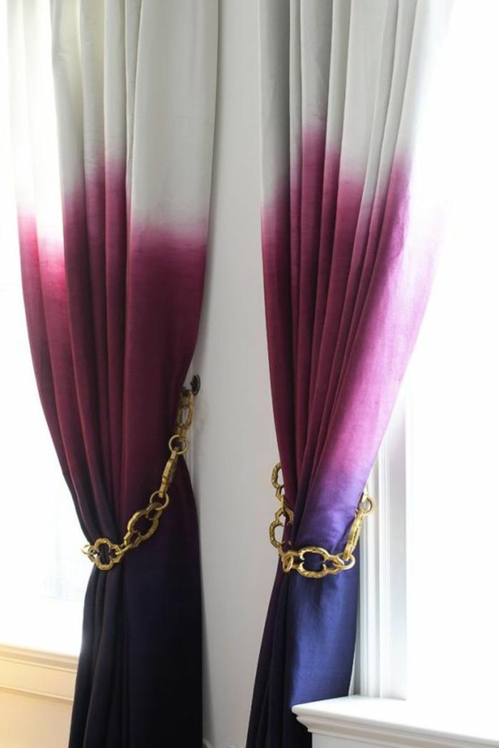 moderne vorhänge in weiß, rosa und lila für eine schöne fenstergestaltung