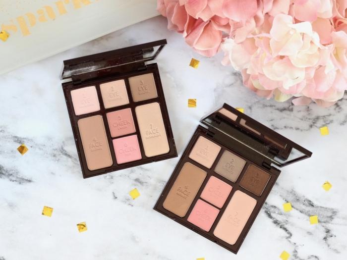 dezentes make up schminke palette alles nötige in einem kasten idee blumen rosa orangenfarbene pflanze
